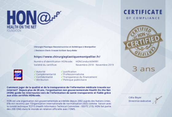 Certificat HON Code
